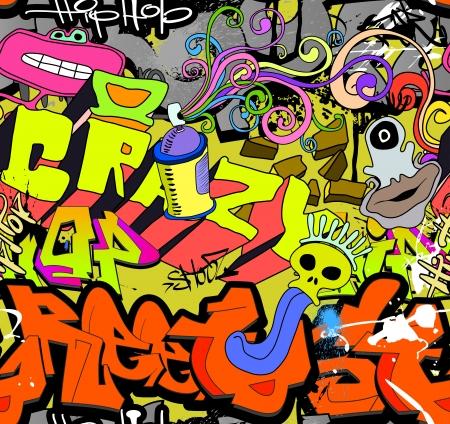 落書き: 落書きの壁アート背景ヒップホップ スタイルのシームレスなテクスチャ パターン  イラスト・ベクター素材