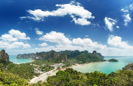 sea scenery: Thailand sea landscape. Nature background with travel boat, sand, blue sky and clear ocean water