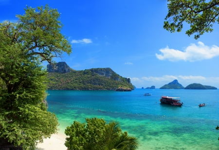 Exotic beautiful landscape of Thailand sea  Angthong marine park near koh Samui island  Tropical beach and  archipelago view photo