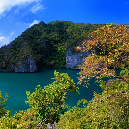 Emerald lake Thale Nai, Koh Mae island, Angthong marine park near koh Samui, Thailand  Famous travel destination photo