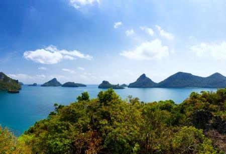 ang: Tropical island nature, Thailand sea archipelago aerial panoramic view  Ang Thong National Marine Park near ko Samui Stock Photo