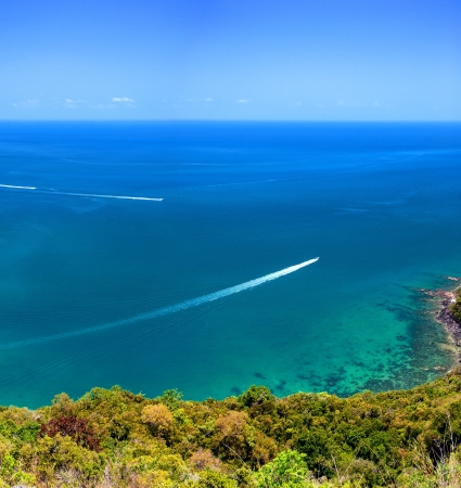 Angthong marine park near koh Samui, Thailand  Beautiful tropical island panoramic view with blue sky and water, exotic thai nature  Famous travel destination photo