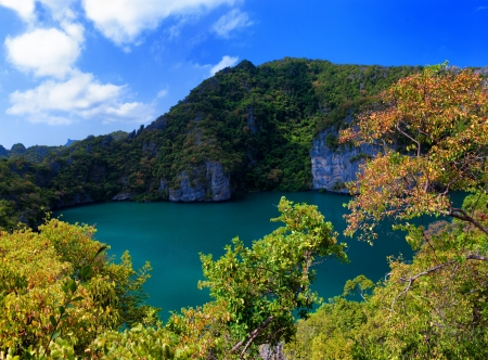 ang: Emerald lake Thale Nai, Koh Mae island, Angthong marine park near koh Samui, Thailand  Famous travel destination