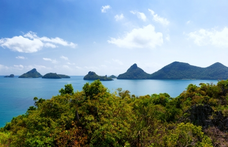Tropical island nature, Thailand sea archipelago aerial panoramic view  Ang Thong National Marine Park near ko Samui photo