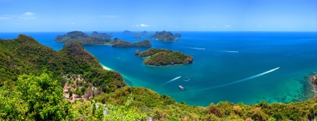 angthong: Tropical island nature, Thailand sea archipelago aerial panoramic view  Ang Thong National Marine Park near ko Samui Stock Photo