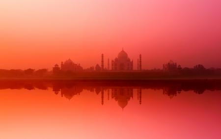 Taj Mahal India  Indian palace Tajmahal with reflection in Yamuna river water  Majestic nature landscape