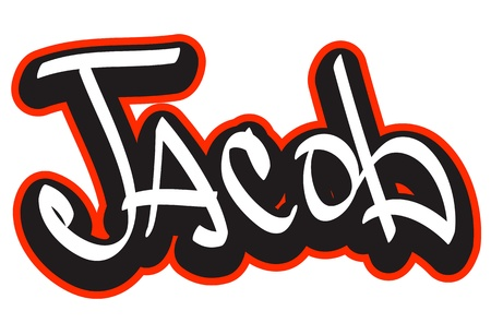name badge: Graffiti font style name  Hip-hop design template for t-shirt, sticker or badge