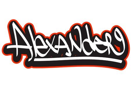 alexander: Graffiti font style name  Hip-hop design template for t-shirt, sticker or badge