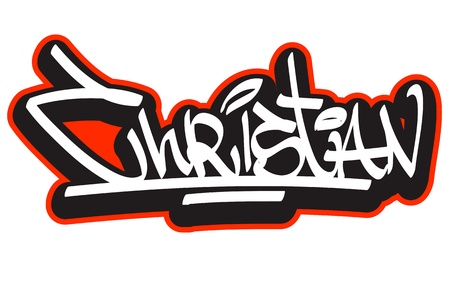 user name: Graffiti font style name  Hip-hop design template for t-shirt, sticker or badge