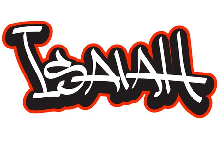 isaiah: Graffiti font style name  Hip-hop design template for t-shirt, sticker or badge