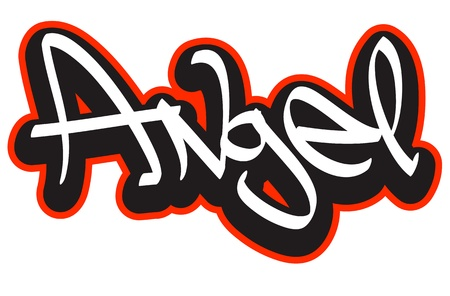 birthday angel: Graffiti font style name  Hip-hop design template for t-shirt, sticker or badge