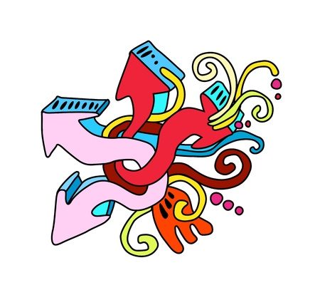 graphiti: Colorful arrows graffiti style abstract illustration