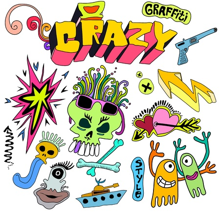 Graffiti funky cartoon elements, artistic characters and colorful shapes