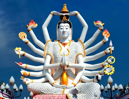 Thailand landmark in koh Samui, Shiva sculpture and Buddhist tample Stok Fotoğraf