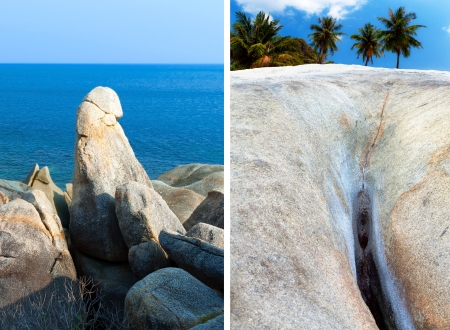 koh: Hin Ta Hin Yai abuelo y la abuela formaciones rocosas en Koh Samui, Tailandia, Asia