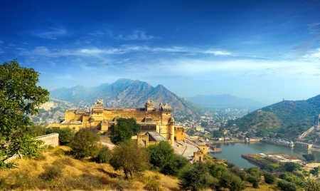 India Jaipur Amber fort in Rajasthan  Ancient indian palace architecture sunset panoramic view