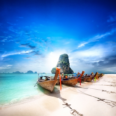 Thailand beach on tropical island  Beautiful travel background of Asia coast Standard-Bild