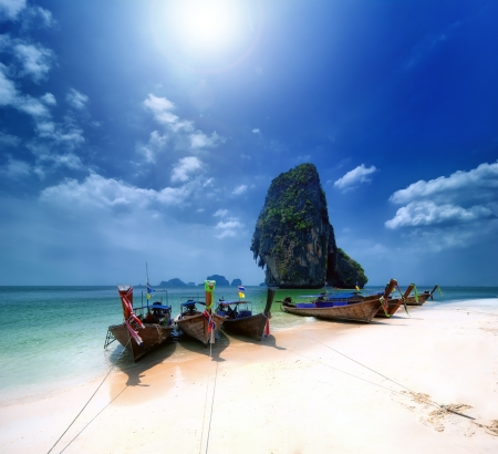 Thailand beach on tropical island  Beautiful travel background of Asia coast Stock Photo