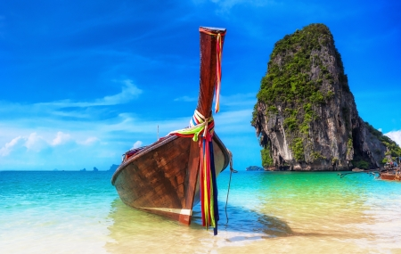 bateau: �le tropicale sur fond de paysage plage Tha�lande
