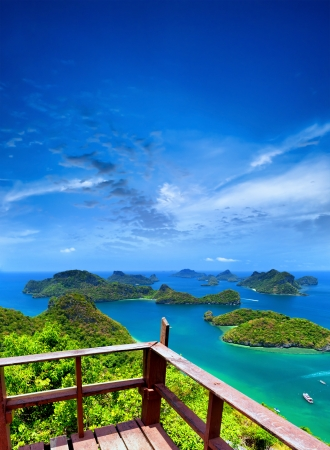 Ko Samui angthong national marine park archipelago in Thailand  Panoramic islands view from viewpoint photo