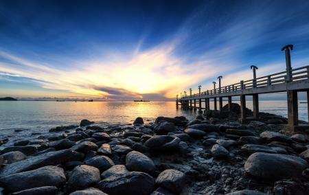 Sea pier sunrise photography photo