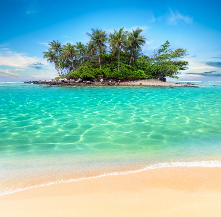 Tropical island and sand beach exotic travel background landscape photo