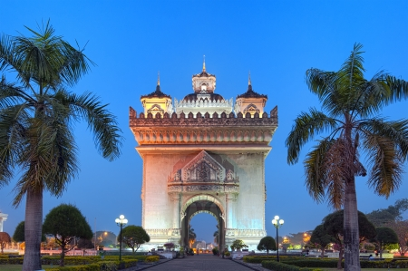 east gate: Patuxai arch monument, victory gate at night  Famous landmark and attraction of Vientiane, Laos