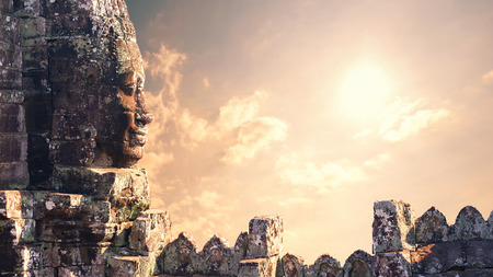 historical sites: Angkor Wat Cambodia  Bayon temple in Angkor Thom historical place Stock Photo