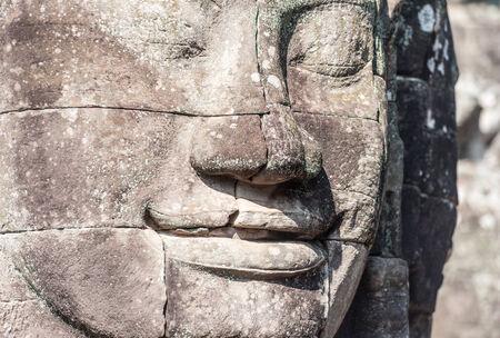 bayon: Angkor Wat Cambodia  Bayon temple in Angkor Thom historical place  Human face and figures murals and carvings Stock Photo