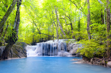 Erawan waterfall in Thailand  Beautiful nature background Zdjęcie Seryjne - 29488577