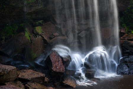 Mountain river waterfall, rocks and clean water  Nature photography photo