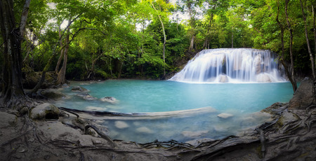 Panorama of tropical forest, waterfall and small pond in Thailand  Scenic nature background photo