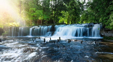 Waterfall landscape panorama. Outdoor hdri photography