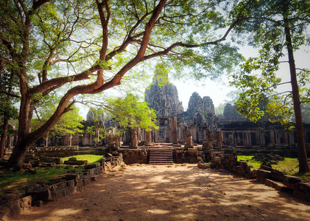 civilizations: Angkor Thom Cambodia. Bayon khmer temple on Angkor Wat historical place