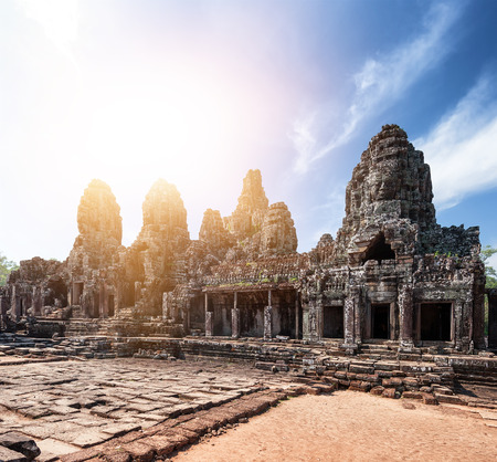Bayon khmer temple on Angkor Wat historical place in Cambodia photo
