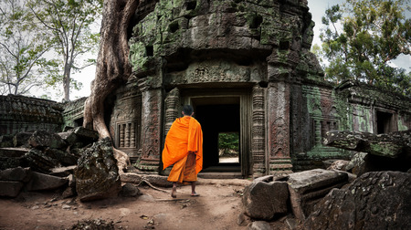 khmer: Angkor Wat monk. Ta Prom Khmer ancient Buddhist temple in jungle forest. Famous landmark, place of worship and popular tourist travel destination in Asia
