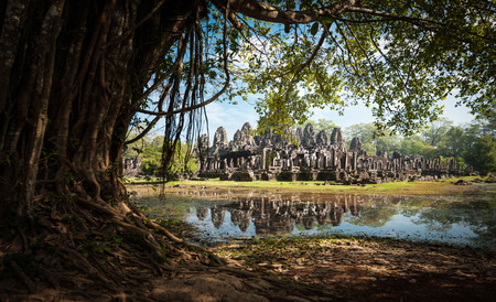 Angkor Thom Cambodia. Bayon khmer temple on Angkor Wat historical place photo