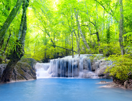 Erawan waterfall in Thailand  Beautiful nature background