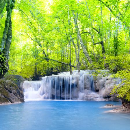 Erawan waterfall in Thailand  Beautiful nature background