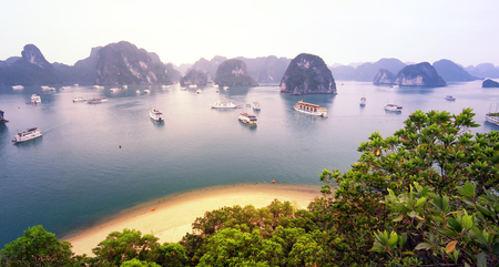 Warm sun light in Halong Bay Vietnam at sunrise. Panoramic landscape view photo