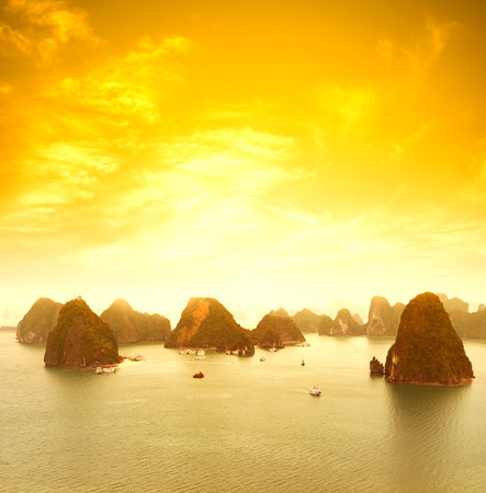 Vietnam Halong Bay beautiful sunset landscape background Stock Photo