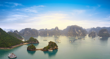long bay: Halong bay Vietnam panoramic view