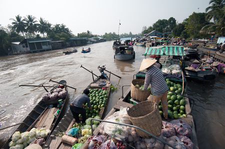 floating market: Vietnam, Mekong Delta floating market in Can Tho Editorial