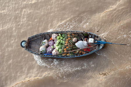 floating market: Vietnam, Mekong Delta floating market in Can Tho Stock Photo