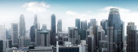 Singapore skyline panoramic view. High modern skyscrapers