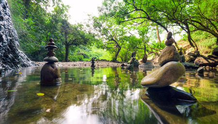 Zen garden Meditate spiritual landscape of green forest with calm pond water and stone balance rocks
