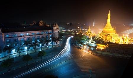 Yangon Myanmar, night cityscape with Sule pagoda 스톡 콘텐츠
