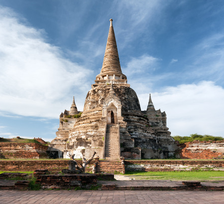 buddhist stupa: Ayutthaya Thailand - ancient city and historical place. Wat Phra Si Sanphet Stock Photo