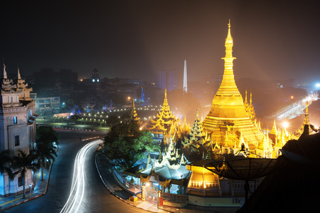 Yangon Myanmar, night cityscape panorama with Sule pagoda