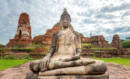 ayutthaya: Buddha statue in Wat Mahathat temple in Ayutthaya, Thailand Stock Photo